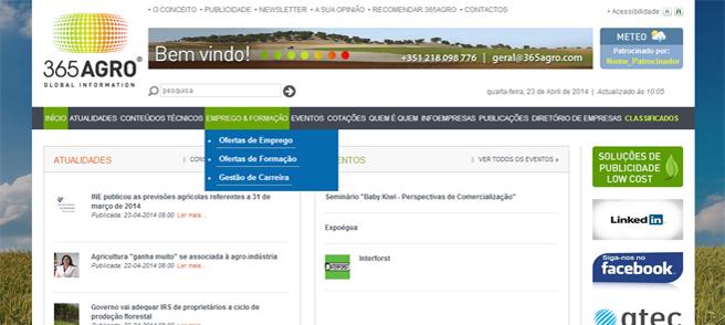 365 Agro - Criação do portal de conteúdos informativos sobre os setores agrícola, pecuário, florestal e agro-industrial