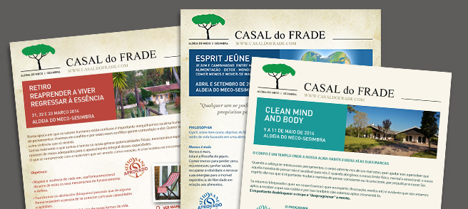 Casal do Frade - Criação e envio de Newsletters dos Programas previstos