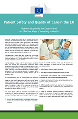 FACT SHEETS - PATIENT SAFETY AND QUALITY OF CARE IN THE EU
