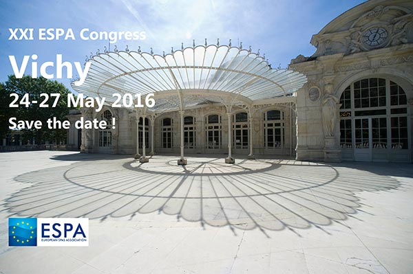 XXI ESPA Congress - Vichy - 24-27 May 2016 - Save the date!